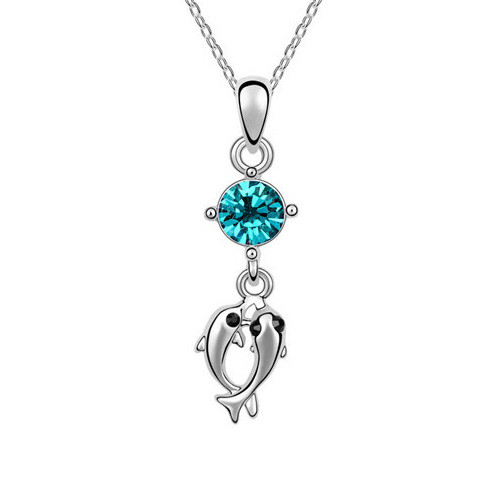 2 Dolphins Pendant Necklace with Blue Green Crystal, 18K Gold Plated