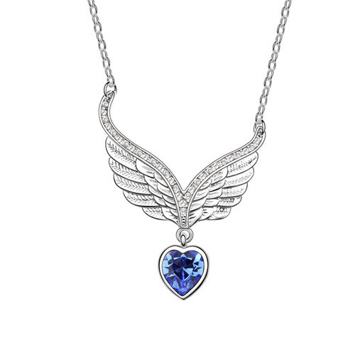 Heart Wings Pendant Necklace with Blue Heart Crystal, 18K Gold Plated