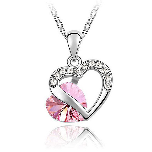 Double Heart Pink Crystal Pendant, Fashionable Women Necklace