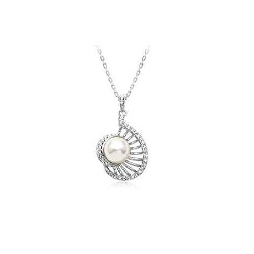 Beautiful Crystal Accented Pearl, Elegant Women Necklace