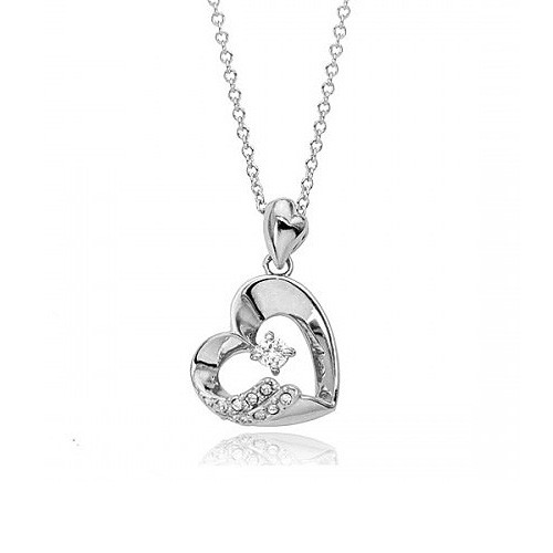 Delicate Crystal Accented Heart Pendant, Elegant Women Necklace - SUPER NICE