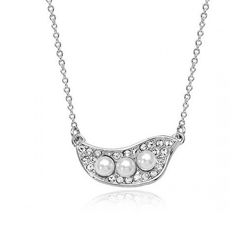 Elegant Crystal and Pearl Accented Organic Shaped Pendant Women Necklace
