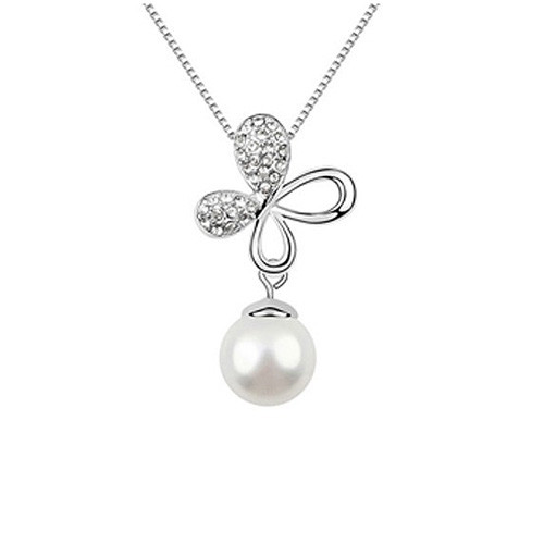 Elegant Crystal Accented Flower Pendant with Pearl Dangle Women Necklace