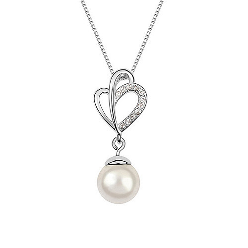 Elegant Flower with Clear Crystal Accents and Pearl Dangle Women Necklace