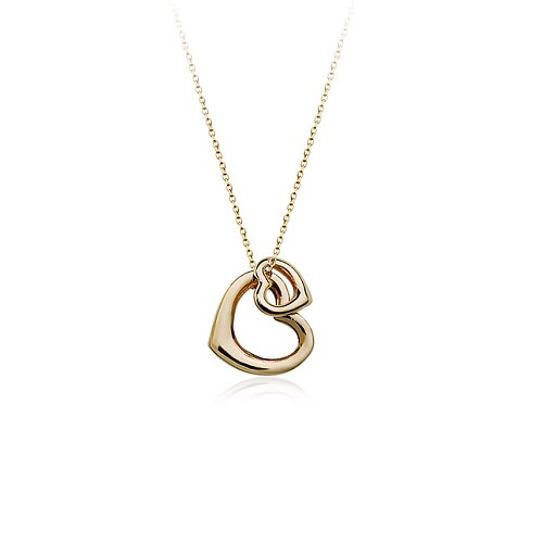 Lovely Double Heart Pendant Necklace for Women, 18k Gold Plated