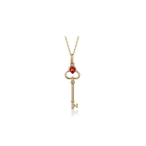 Adorable Key Pendant Necklace for Women with Ruby Crystal Accent