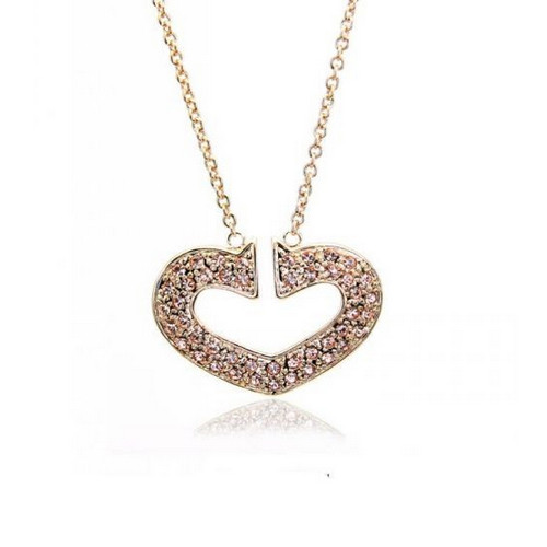 Charming Heart Pendant Necklace for Women with Crystal Accents