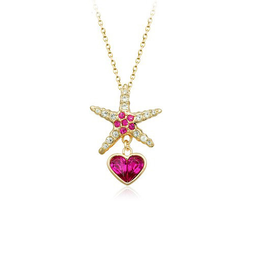 Super Cute Starfish Pendant Necklace for Women with Heart Dangle