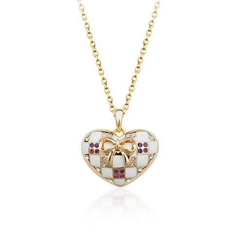 Adorable Heart Pendant Necklace for Women with Crystal Accents
