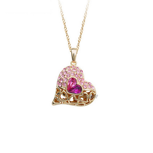 Enchanting Heart Pendant Necklace for Women with Crystal Accents