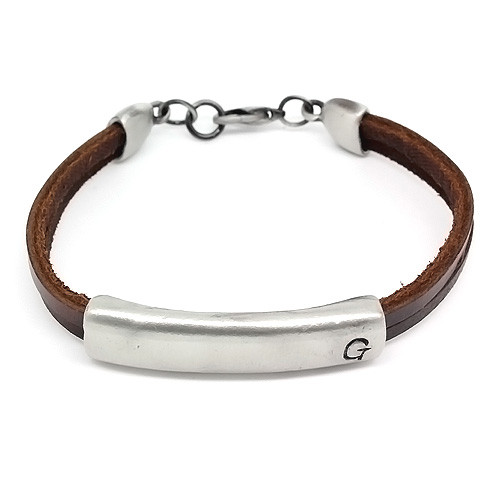 """Unisex Brown Leather 2 Band Bracelet with Stylish Silver Plated """"G"""" Slide Bead"""