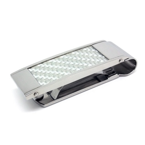 Stainless Steel Money Clip White Carbon Fiber, High Polish, Classy, High End