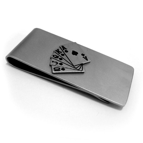 Stainless Steel Money Clip with Poker Royal Flush Cards