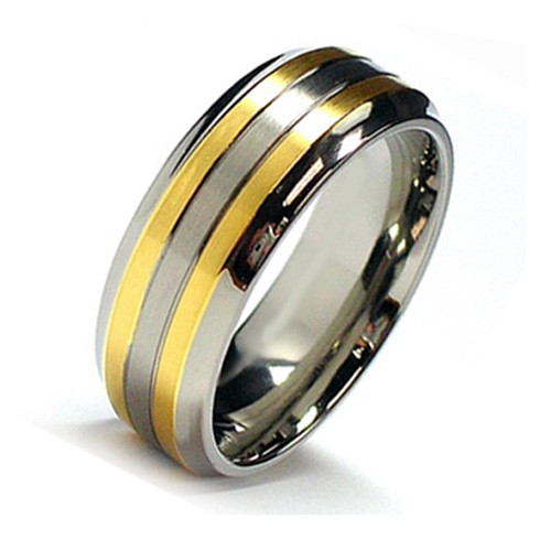 Titanium Ring with Double Gold Plated Lines, Flat Top, 8MM