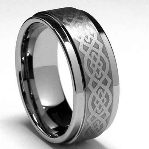 Tungsten Ring with Celtic Design, High Polished Finish, 9MM