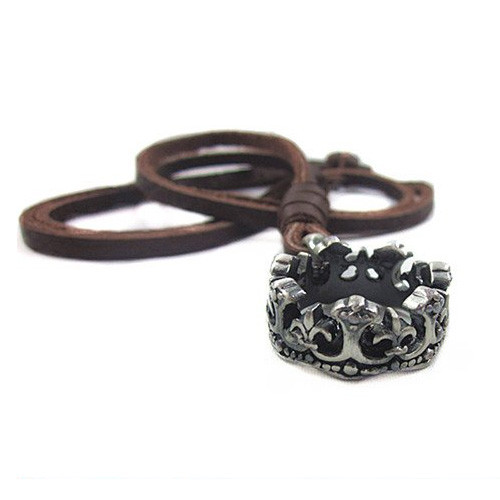 Genuine Adjustable Leather Necklace with Antique Crown Pendant