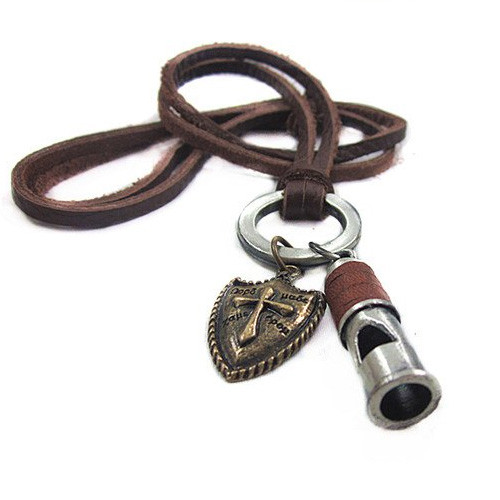 Genuine Leather Adjustable Necklace with Whistle and Cross Pendant