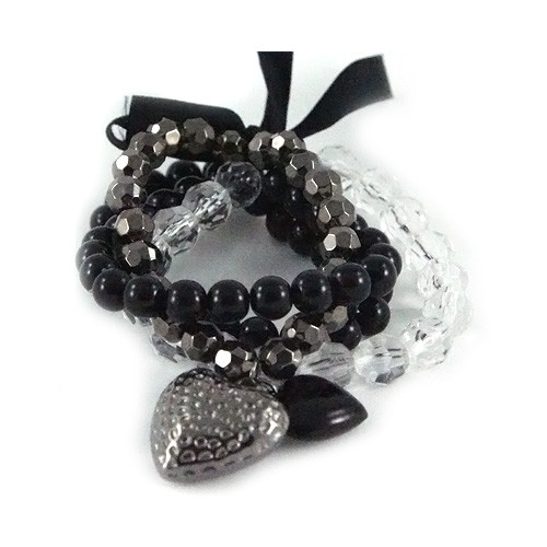 Fashionable Multi-strand Beaded Bracelet with Ribbon and Double Heart Charm