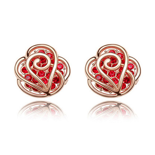 18k Gold Plated Heart Earrings with Dazzling Ruby Crystals