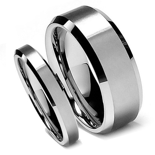 Matching Tungsten Wedding Band Sets, Brush Matte Finish, Classic Design