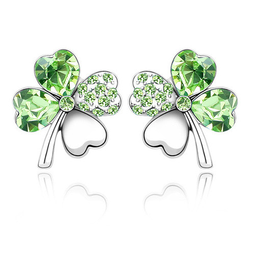 Lucky Four Leaf Clover Earring with Stunning Crystals