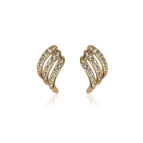18K Gold Plated Swooped Earrings with Crystal Accents