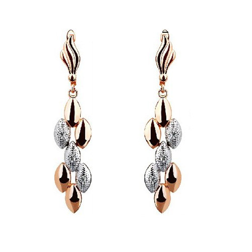 18K Gold Plated Dangle Earrings with Crystal Accents