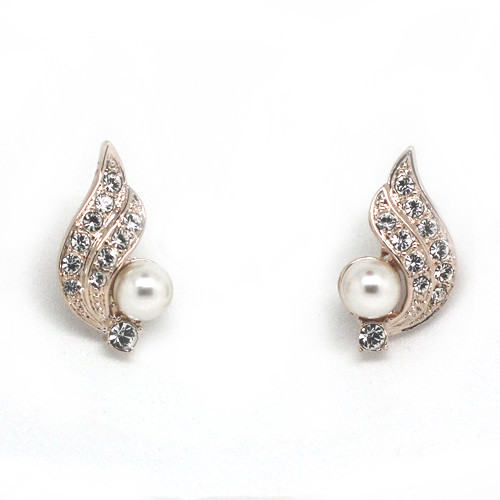 18K Gold Plated Pearl Earrings with Crystal Accents