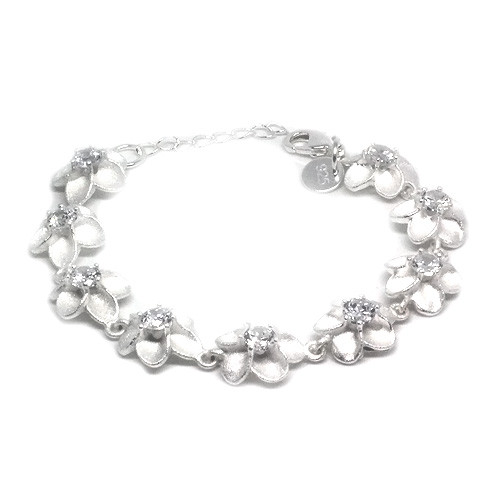 925 Sterling Silver Flower Bracelet with Stunning Crystal Accents