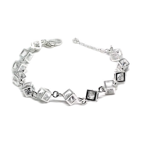 925 Sterling Silver Cubes Bracelet with Crystal Stones