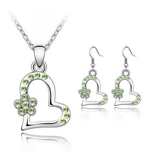 Necklace and Earring Jewelry Set, Light Green Crystal Heart with Flower