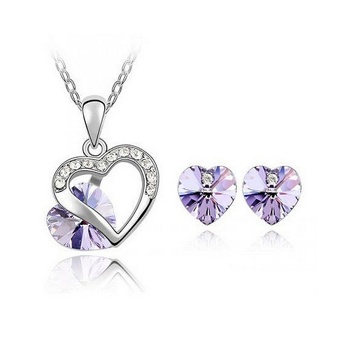 Necklace and Earring Jewelry Set, Light Purple Crystal Heart