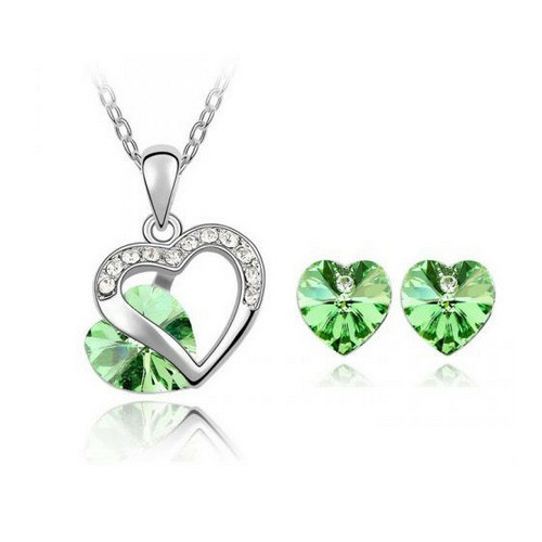 Necklace and Earring Jewelry Set, Light Green Crystal Heart