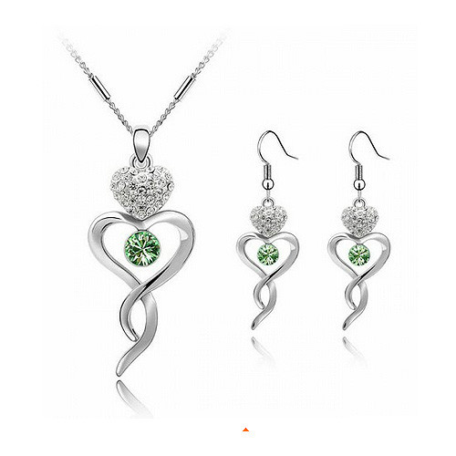 Jewelry Set, Green Crystal Twisted Heart