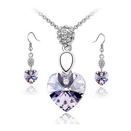 Amethyst Heart Necklace and Earrings Jewelry Set