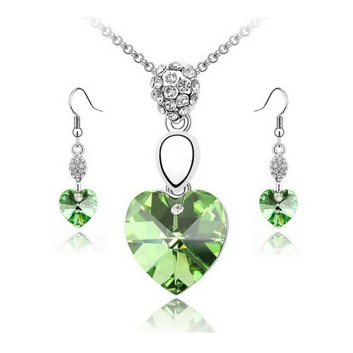 Green Heart Necklace and Earrings Jewelry Set