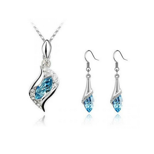 Aqua Blue Crystals Necklace and Earring Jewelry Set