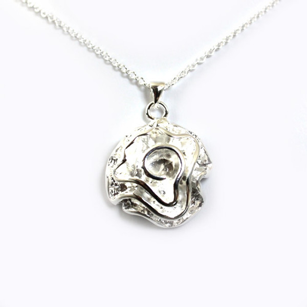 Flower Pendant Women Necklace, 18K White Gold Plated