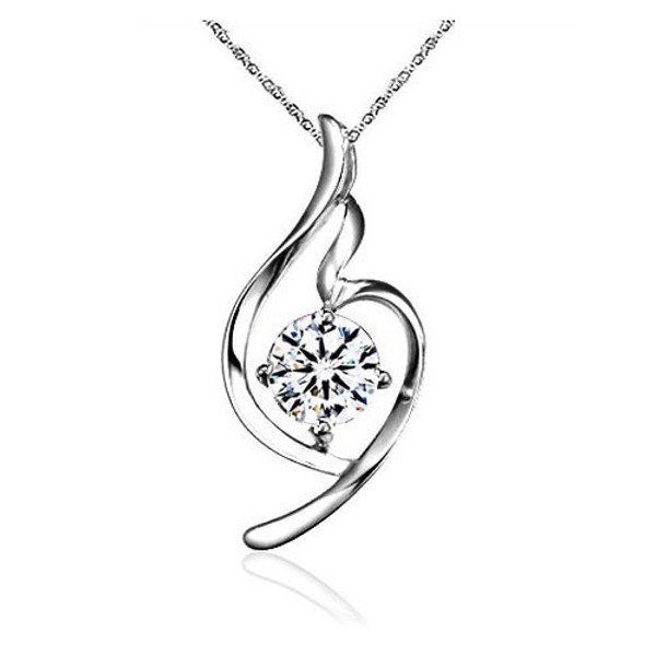 Sterling Silver Necklace, Women Pendant, CZ Stone, Free Chain
