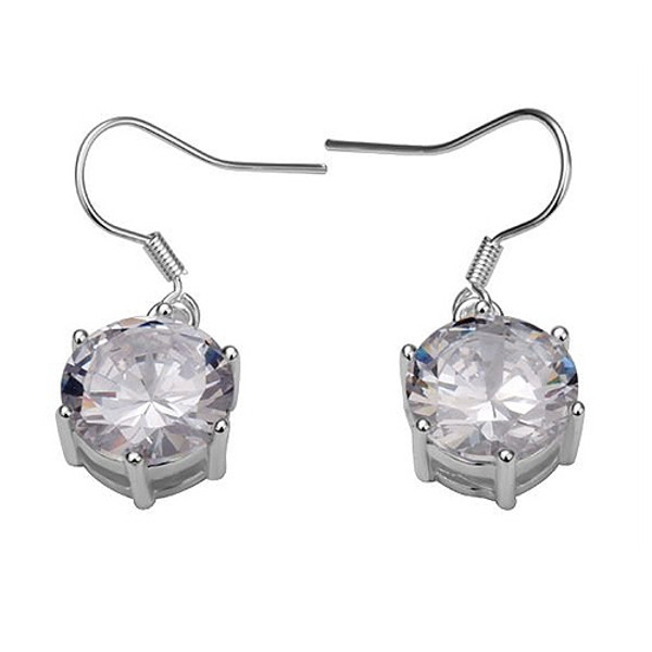 925 Sterling Silver Dangle Earrings with a Stunning Accent Crystal