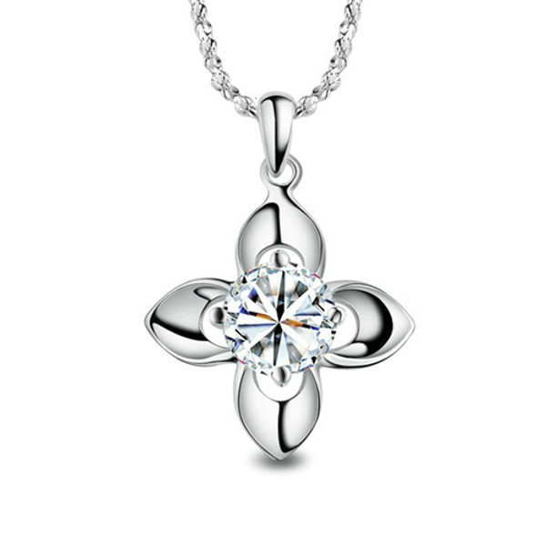 925 Sterling Silver Necklace, 4 Leaf Clover Pendant, Cubic Zirconia Stone, Free Chain