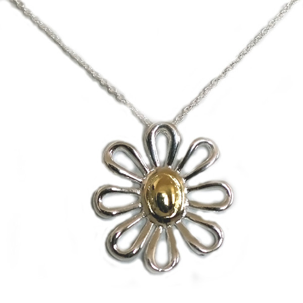 925 Sterling Silver Daisy Pendant necklace, Free 18 Inch Chain
