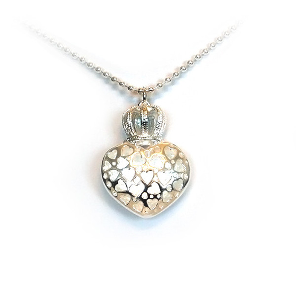 925 Sterling Silver Heart and Crown Pendant necklace, Free 18 Inch Chain