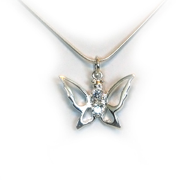 925 Sterling Silver Butterfly Pendant necklace, Free 18 Inch Chain