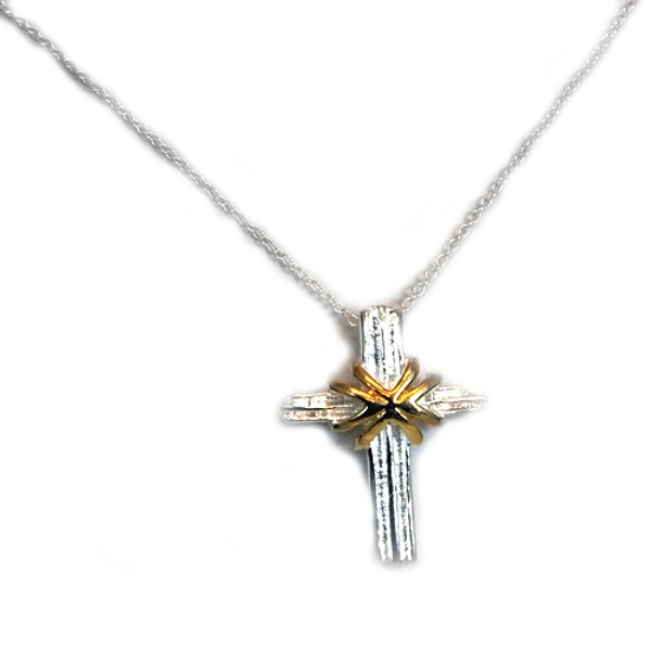 925 Sterling Silver Cross Pendant necklace, Free 18 Inch Chain.
