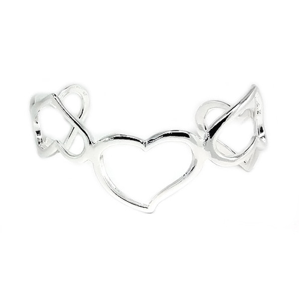 925 Sterling Silver Heart Bangle