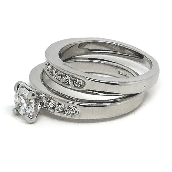 White-Gold Plated Stackable Engagement CZ Stone Ring Set