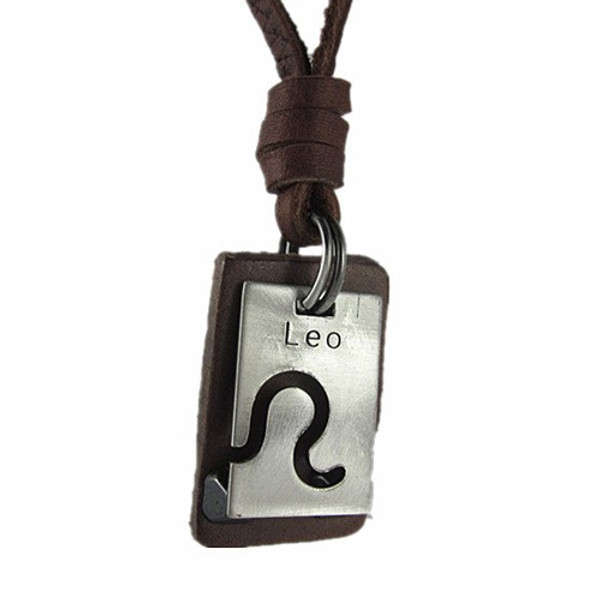 Genuine Leather Adjustable Necklace with Brushed Chrome 'Leo' Pendant