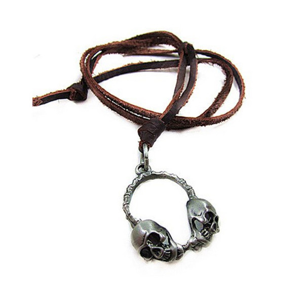 Light Brown Leather Adjustable Necklace with Chrome Skull Headphone Pendant
