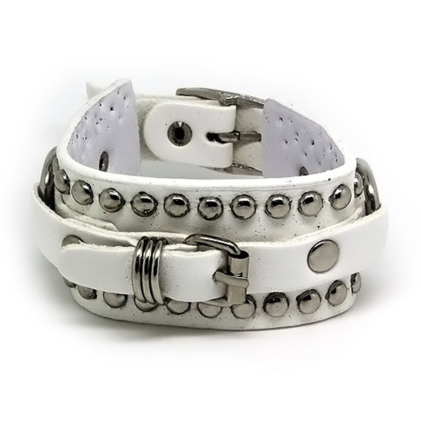 White Leather Adjustable Studded Belt Bracelet